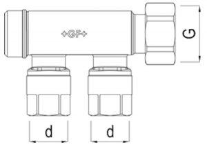 Collettori stampati con attacchi e dado girevole – senza valvole-GF-Tubiplast