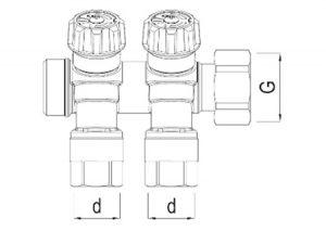 Collettore 30° angolare con attacchi e dado girevole-GF-Tubiplast