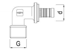 Gomito maschio filettato 90° d40-63-GF-Tubiplast