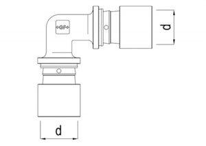 Gomito intermedio 90° d16-32-GF-Tubiplast