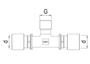 Tee maschio filettato d16-32-GF-Tubiplast