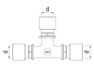 Tee ridotto intermedio 90° d16-32-GF-Tubiplast