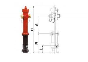 Idrante soprasuolo modello EUR a norma EN 14384 in ghisa DN 80 – DN 100 tipo a secco con scarico automatico antigelo-Bocciolone-Tubiplast